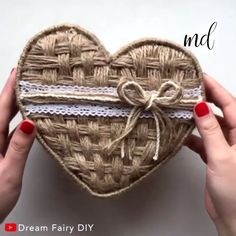 A heart-shaped box with twine is the box you need! By: Dream Fairy DIY diycraftshacks Twine Crafts, Felt Crafts Diy, Diy Crafts Hacks, Cardboard Crafts, Recycled Crafts, Diy Crafts Videos, Diy Crafts For Home Decor, Diy Crafts For Gifts, Diy Arts And Crafts