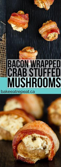 An easy and delicious appetizer that can be made ahead of time. These creamy, ch. An easy and delicious appetizer that can be made ahead of time. These creamy, cheesy, crab stuffed mushrooms are wrapped in bacon for the perfect appetizer! Bacon Appetizers, Appetizer Recipes, Delicious Appetizers, Tasty Snacks, Party Appetizers, Seafood Recipes, Cooking Recipes, Burger Recipes, Catering
