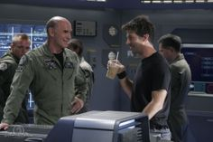 Joe Flanigan and Mitch Pileggi onset Stargate Atlantis
