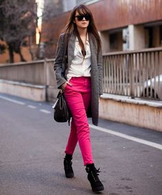 Elegant outfit with neon pants