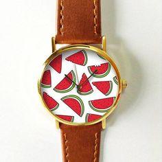 Watermelon Watch 1 , Vintage Style Leather Watch, Women Watches, Boyfriend Watch, Men's watch, Summer Red Green