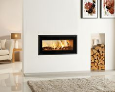 photo of contemporary modern open plan stylish warmth white stovax living room sitting room with feature fireplace fireplace fireplace surround high efficiency fire log burner modern fireplace artwork fire Stove Fireplace, Fireplace Design, Double Sided Log Burner, Insert Stove, Zebra Print Bedroom, Interior Exterior, Interior Design, Living Room Designs, Living Spaces