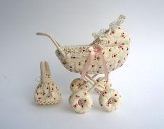 Baby Carriage, Doll Pram/ Dollhouse miniature, Vintage Style