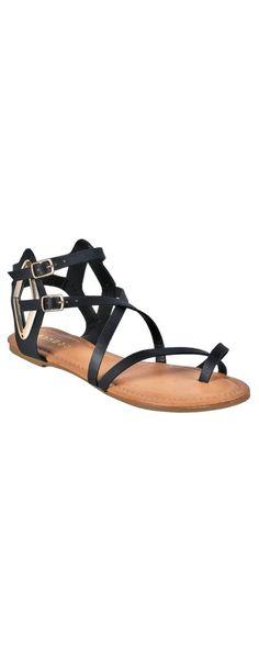 e0153e0ea3ea5d Lily Boutique Olivia Short Gladiator Sandals in Black