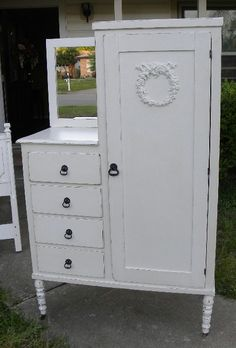 Shabby Chic dresser distressed Vintage white by InspireMeDesigns inspiremedesign