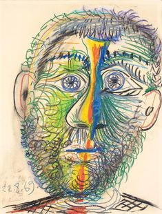 "atmospheric-minimalism: ""Pablo Picasso, Tête d'homme, 22-August/1969, crayon on paper, 65,8 x 50,5 cm """