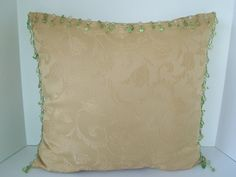 17 Square Golden Yellow Boudoir Pillow Green Beaded by 2lewa