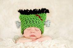 Frankenstein crochet baby hat