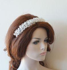 Bridal Hair Crown, Wedding Crystal Beads Tiara, Wedding Headband, Wedding Headpiece, Wedding Hair Headband, Wedding hair Accessory, Bride Wedding Headband, Bridal Crown, Bridal Hair, Bridal Headbands, Pearl Bridal, Bridal Beauty, Hair Wedding, Bridal Makeup, Tiara Hairstyles