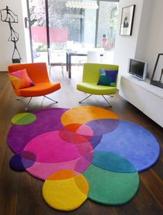 Colourful round rug