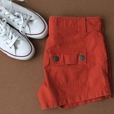 Orange Shorts Gently Worn, Orange Shorts, Low Waist, From top to bottom about 11.5 inches. These are short and cute Old Navy Shorts