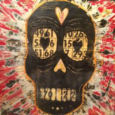 LOVE!BINGO!  - linocut and encaustic on wood panel. Amy Stoner 2015. amystoner.com
