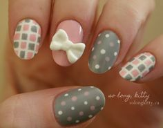 Cute checkered and polka dot bow nail art. Put in together cute bows, checkered prints and polka dots and you get this adorable nail art com in Nail Designs Get Nails, Fancy Nails, Love Nails, Pink Nails, How To Do Nails, Pretty Nails, Hair And Nails, Classy Nails, Garra
