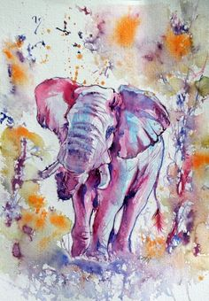 ARTFINDER: Elephant II by Kovács Anna Brigitta - Original watercolour painting on high quality watercolour paper. I love landscapes, still life, nature and wildlife, lights and shadows, colorful sight. Thes... African Animals, Art Club, Watercolour Painting, Pet Birds, Art Reference, Original Art, Art Prints, Elephants, Artwork