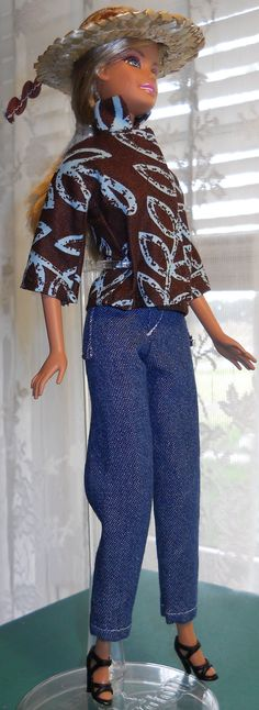 Handmade Barbie cotton jeans set by AuntieLousCrafts on Etsy, $9.50