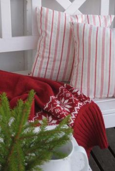 . Christmas On The Porch  Peppermint Stripe Pillows  PRETTY !!!