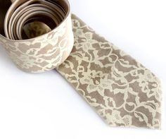 13th Anniversary - LACE - (A gift for him) Lace necktie. Silkscreen tie ivorycream by Cyberoptix, $30.00