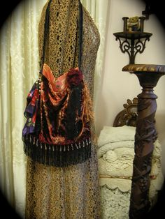 Gypsy Velvet Purse fringe fabric bag embellished by GrandmaDede,