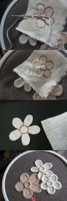 Diy Crafts - - for spring embroidered daisy embellishments or coasters cute simple craft for clothes or decor: Embroidery Applique, Beaded Embroidery, Cross Stitch Embroidery, Embroidery Patterns, Sewing Patterns, Flower Applique, Fabric Crafts, Sewing Crafts, Diy Crafts