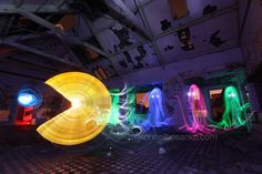 Artist Michael Bosanko used lights and photography to capture this Pac-Man homage