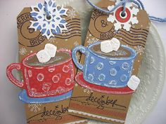 Shabby Chic Primitive Cup of Cocoa Rustic Gift Tags by pearliebird