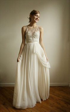 Josephine lace and silk chiffon gown  etsy exclusive  by Leanimal, $1545.00. this is beautiful!