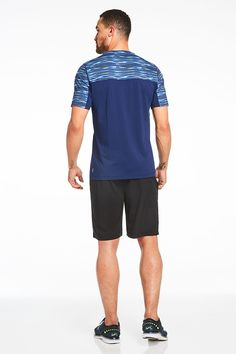 f42fe3542a7dc Accelerate your airflow in a striped performance tee with a mesh back. Stay  shielded from