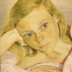 Girl in bed, by Lucien Freud 1952. The sitter is Lady Caroline Blackwood. From a private collection on loan to the National Portrait Gallery, London. #lucienfreud #nationalportraitgallery #london
