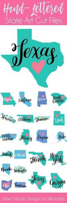 Hand-Lettered State Art Silhouette Cut Files. All 50 States! DawnNicoleDesigns.com