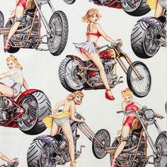 Alexander Henry HOT WHEELS Fabric - White - Novelty Chopper Biker Harley Pin Up