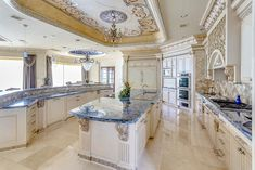 The Crown Jewel of Palm Royale -- amazing trim work and and an atypical colored countertop that just really works for a traditional #luxury #kitchen.
