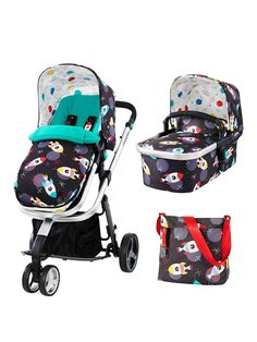 The CosattoSpace Racers Giggle 3-In-1 Pushchair is a busy family's best friend.Lightweight Pushchair ChassisSeat Unit and Separate Carrycot IncludedSunshade, Footmuff and Raincover for all weathers As an infant carrier, pram and 2-way pushchair, this versatile Cosatto set was designed to evolve with your baby as they grow.The from-birth carrycot comes with a comfy mattress, carry handle and a removable, washable liner, to create a cosy haven for your snoozing newborn. When you need to ...
