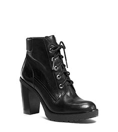 A wardrobe essential with masculine edge, our Kim boots work like a charm. Taking a feminine approach to the iconic work boot, this lace-up style comes complete with a block heel and sturdy platform. Luxe leather craftsmanship balances out the tough-talking design. Style yours with a pencil skirt or floral-print dress for a touch of androgynous flair.