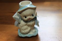 Vintage Narcoware C6348 white/blue kitten by StonesThrowTreasures on Etsy
