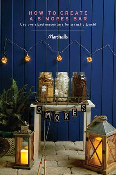Outdoor party idea — use oversized mason jars for a rustic s'mores bar! Marshsmallows, chocolate and graham crackers never looked so fun — or so organized! Just add string lights and glass lanterns for extra mood lighting, all priced to delight. Visit Marshalls to create your own s'mores bar today!