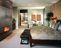 Modern bedroom design in grey and, white and various shades of brown