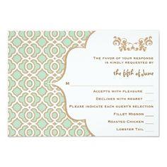 Formal Wedding Invitation RSVP Mint Green Gold Moroccan Wedding Response Cards