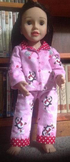 irginia used my winter pyjamas pattern to make her Australian Girl Doll these adorable PJ's. She used a contrasting fabric for the collar and the facing on the top as well as for the cuffs on the legs. This has turned a plain pair of PJ's into a real fashion statement, they look absolutely gorgeous