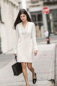 White layers, black shoes, black tote, white Calvin Klein dress, Nili Lotan top, Dieppa Restrepo shoes, Mansur Gavriel tote / Garance Doré