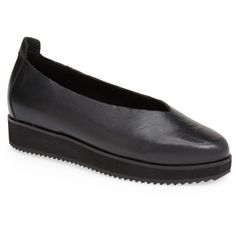 This round-toe flat is crafted from smooth leather for a flexible fit and a classic, wear-with-anything look. A cushioned footbed provides superior comfort for all-day wear. Color (s) : black. Brand: Eileen Fisher. Style Name: Eileen Fisher 'Canoe' Leather Flat (Women) . Style Number: 466098.