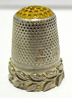 RP: VICTORIAN STERLING SILVER YELLOW GLASS THIMBLE  GERMANY - ebay.com