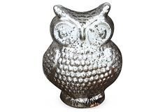 "11"" Mercury Glass Owl, Silver on OneKingsLane.com"
