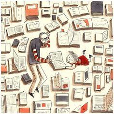 bibliolectors:  Todo un mundo para descubrir juntos… con los libros (ilustración de Karina Cocq)