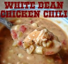 """vee's knees: """"Try It Tuesday"""" White Bean Chicken Chili 150 calories Skinny Recipes, Ww Recipes, Chili Recipes, Crockpot Recipes, Soup Recipes, Chicken Recipes, Cooking Recipes, Healthy Recipes, Cooking Chili"""
