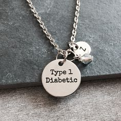 Type 1 diabetic, Diabetes Necklace, Medical ID, Diabetes, Diabetic, Insulin, Diabetic Charm, Diabetic Pendant, Diabetic Jewelry, Gifts by SAjolie, $22.95 USD