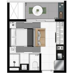 Awesome Small Apartments Looks luxurious Studio Type Apartment, Apartment Layout, Apartment Plans, Apartment Design, Tiny Apartments, Tiny Spaces, Small Rooms, Layouts Casa, House Layouts