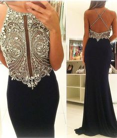 prom dresses,a-line round neck sequin long black prom dress, evening dress