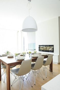 neutral dining room | modern fireplace | gray + white