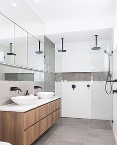 Loving the wall length niche with a feature tile for storing all the lotions and potions / idée décoration maison - salle de bain moderne double vasques tendance Ensuite Bathrooms, Bathroom Renos, Grey Bathrooms, Bathroom Renovations, Modern Bathroom, Small Bathroom, Bathroom Ideas, Mirror Bathroom, Bathroom Cabinets