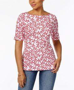 Karen Scott  Elbow-Sleeve Printed Boatneck Top L Large Cotton New with tags #KarenScott #CottonTop